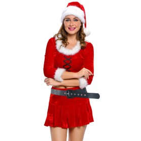 Red Sexy Santa Clothes Long - Sleeved Pleated Skirt Stage Wear