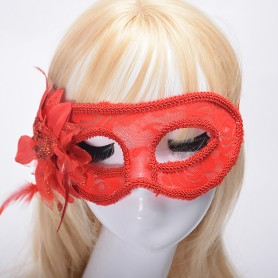 Venetian Mask with Green Onion Cloth Yarn Flower Feathers Translucent Lace Side Edge Flower Mask