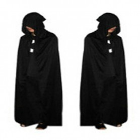 Halloween Costume Death Big Cloak Black Death Cloak Devil Cloak Black with Cap Long Cloak