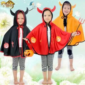 Halloween Costume Horned Demon Shawl Cloak