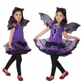 Halloween Costume Stage Performance Princess Skirt Purple Bats Girl Suit