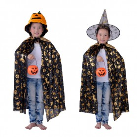 Halloween Costumes Dress Up Men and Women Pumpkin Barrels Gold Pumpkin Cloak