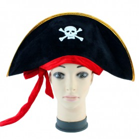 Halloween Supplies - Caribbean Pirate Captain Cap Pirate Hat Flat with Red Band