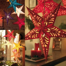 New Year Decoration Gift Ceiling Strap Double Side Stereo Laser Five Point Star Shade Star Shade