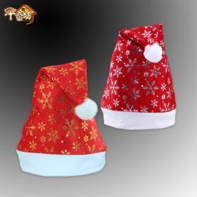Christmas Decorations Santa Claus Hat Short Plush Edge Printed Snowflake Christmas Hat