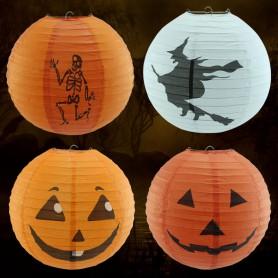 Halloween Lantern Scene Decoration Round Telescopic Lanterns Can Be Linked To Pumpkin Paper Lantern Pumpkin
