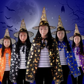 Halloween Bronzing Cloak Cloak Adults Child Gold Pumpkin Cloak Ktv Make - Up Clothing