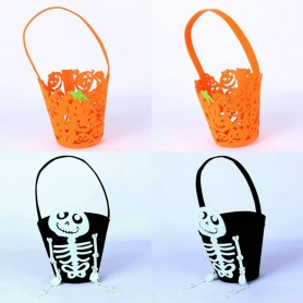Halloween Makeup Dress Up Handbag Pumpkin Bag Skull Black Bag Nonwoven Bag