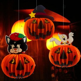 Halloween Pumpkin Lantern Halloween Hotel Decorative Ceiling Folding Paper Lanterns