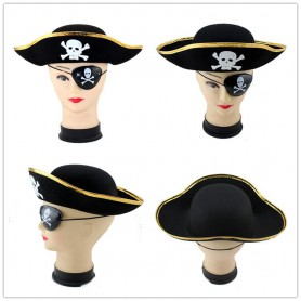 Halloween Supplies Pirate Hat Pirate Goggles Pirate Dress Up Triangle Pirate Jack Gold Edge Silver Side