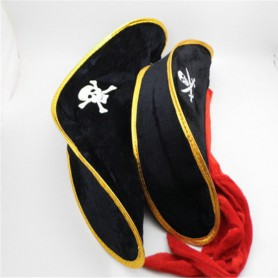 Pirate Captain Hat Halloween Supplies - Caribbean Pirate Hat Red Ribbon) Supplies