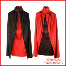 Halloween Costume Double Color Cloak Red Black Cloak Adult Cloak Collar Cloak