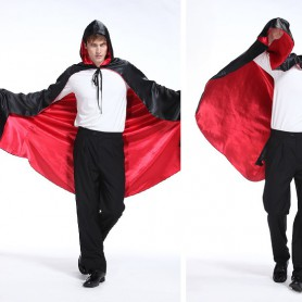 Halloween Costume Show Costume Vampire Cloak Demon Cloak Red and Black Double with Cap Cloak Satin