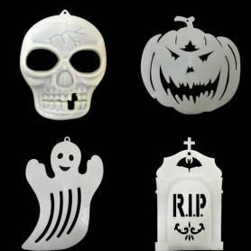 Halloween Supplies Scene Arrangement Pumpkin Ghost Skull Tombstone Bats Hanging Window Walls