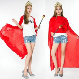 Halloween Performance Red Cloak Adult Children Show Kings Prince Costume Queen Dress Parental Equipment