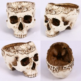 Halloween Resin Simulation Carved Head Bone Flower Pots Ashtray Hollow Skull Head Horror Tricks Creative Ornaments