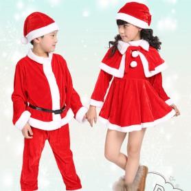 Christmas Costumes Children Velvet Christmas Costumes Autumn and Winter Performances Children Skirts Boys Suit