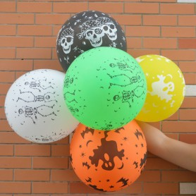 Halloween Scene Dress Up Pumpkin Balloon Thicker Balloon Skull Bats Pattern Balloon