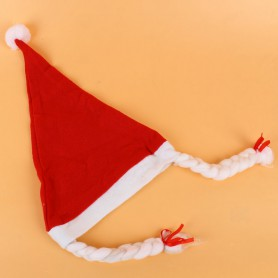 Christmas Eve Activity Children Dress Up with Braids Christmas Hat Non-woven Christmas Hat