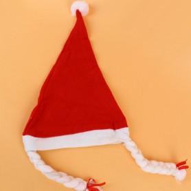 Christmas Hat with Braid Christmas Hat Christmas Decoration Red Christmas Hat Christmas Hat Girl Christmas