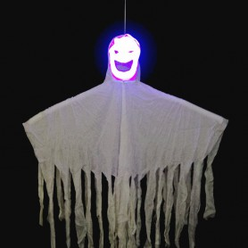 Halloween Halloween Items Haunted House Ktv Decoration White Ghost Sound Control Telescopic Face Ghosts