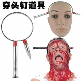 Halloween Horror Scary Wear Through The Head Knife Screw Bones Whole People Funny