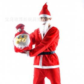 Christmas Suits Santa Claus Costumes Men Christmas Suits Five Sets of Plush Christmas Backpack Boots Sets